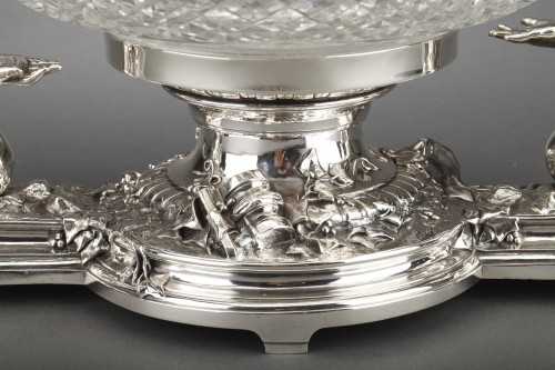 Goldsmith CHRISTOFLE - Centerpiece in silvered bronze and 19th  crystal - Napoléon III