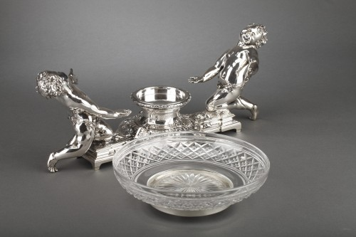Napoléon III - Goldsmith CHRISTOFLE - Centerpiece in silvered bronze and 19th  crystal