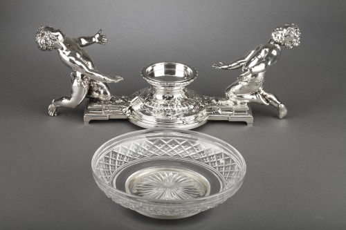 Antiquités - Goldsmith CHRISTOFLE - Centerpiece in silvered bronze and 19th  crystal