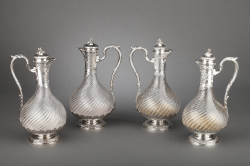 Goldsmith BOIN TABURET - Suite of four crystal ewers, silver frame, 19th century - Antique Silver Style Napoléon III
