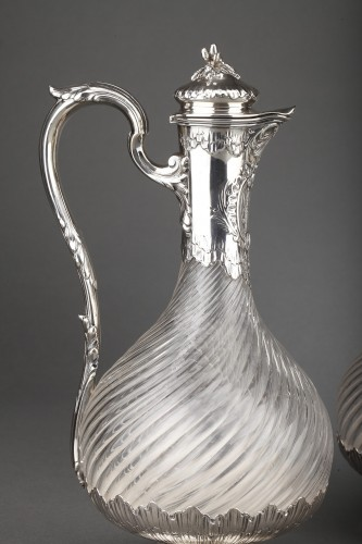 Antique Silver  - Goldsmith BOIN TABURET - Suite of four crystal ewers, silver frame, 19th century