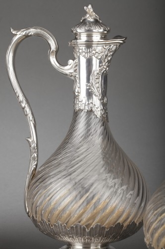 19th century - Goldsmith BOIN TABURET - Suite of four crystal ewers, silver frame, 19th century