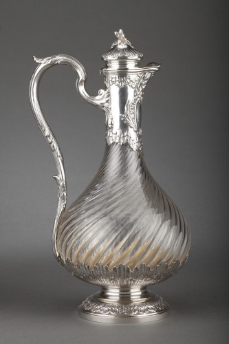 Goldsmith BOIN TABURET - Suite of four crystal ewers, silver frame, 19th century - Napoléon III