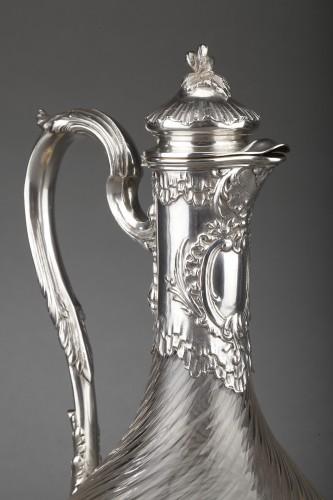 Napoléon III - Goldsmith BOIN TABURET - Suite of four crystal ewers, silver frame, 19th century