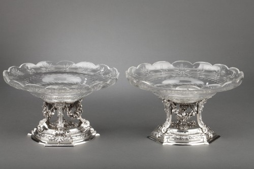 Goldsmith BOIN TABURET - Pair of cups in solid silver  - Antique Silver Style Napoléon III