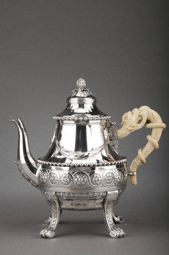 Goldsmith CARDEILHAC - Important Teapot in sterling silver and ivory 19th  - Antique Silver Style Napoléon III
