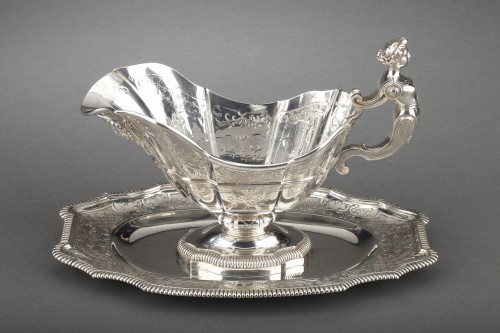 Antique Silver  - Goldsmith CARDEILHAC - Sauce boat on its solid silver tray 19th century