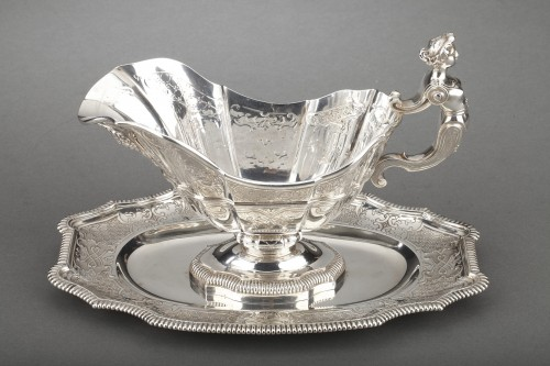 Goldsmith CARDEILHAC - Sauce boat on its solid silver tray 19th century  -