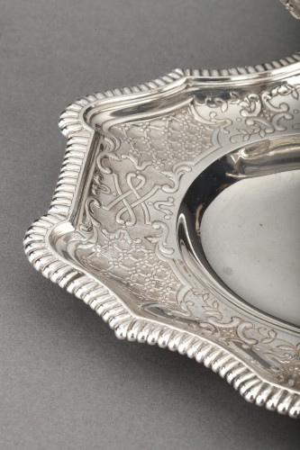 19th century - Goldsmith CARDEILHAC - Sauce boat on its solid silver tray 19th century