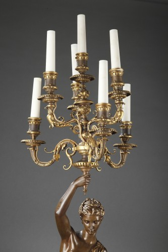 Barbedienne - Pair of 19th century bronze Torchieres by DUBOIS & FALGUIERE - Lighting Style Napoléon III