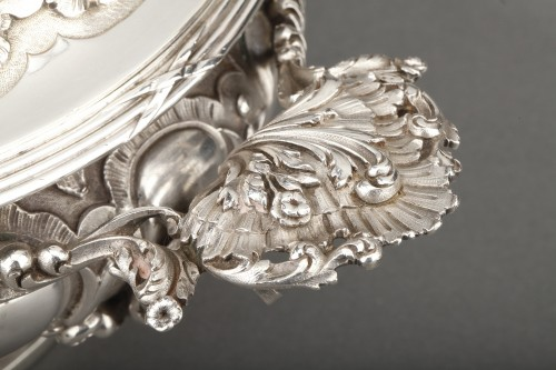 19th century - Goldsmith MERITE - Vegetable dish and gravy boat in solid silver 19th cent