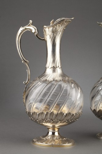 Goldsmith ODIOT - Pair of oblong crystal and vermeil ewers 19th century - Antique Silver Style Napoléon III