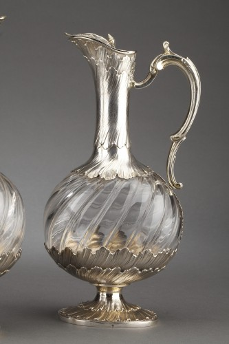 Antique Silver  - Goldsmith ODIOT - Pair of oblong crystal and vermeil ewers 19th century