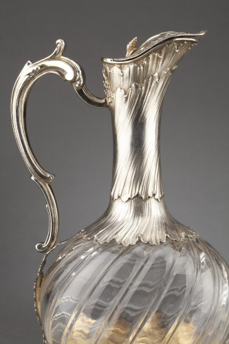 Goldsmith ODIOT - Pair of oblong crystal and vermeil ewers 19th century -