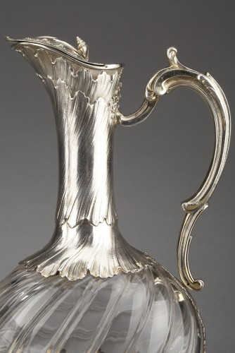19th century - Goldsmith ODIOT - Pair of oblong crystal and vermeil ewers 19th century
