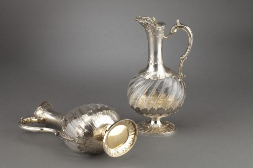 Napoléon III - Goldsmith ODIOT - Pair of oblong crystal and vermeil ewers 19th century
