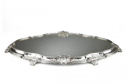 Goldsmith TETARD - Especially table and its planter in solid silver XIXth