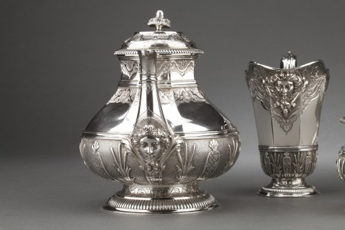 CARDEILHAC -19th century  tea coffee service in sterling silver - Antique Silver Style Napoléon III