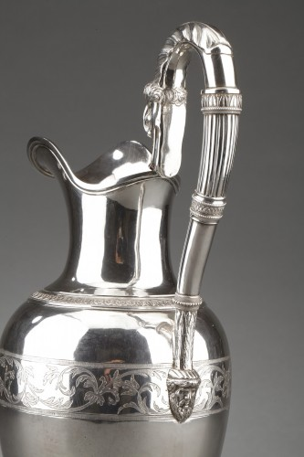 Antiquités - Goldsmith Antoine Michel - Ewer in sterling silver 1st Empire period
