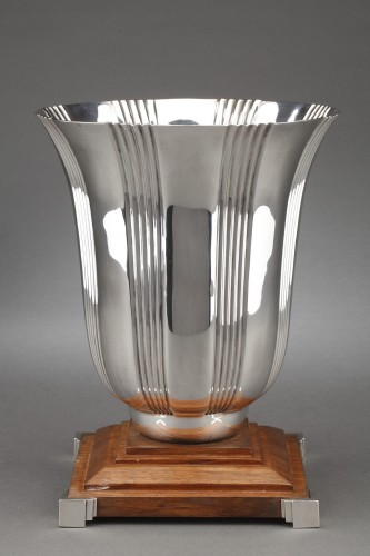Goldsmith LAPPARRA - Sterling silver vase Art déco period - Antique Silver Style Art Déco