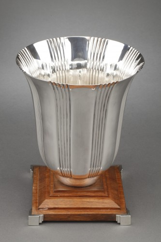 20th century - Goldsmith LAPPARRA - Sterling silver vase Art déco period
