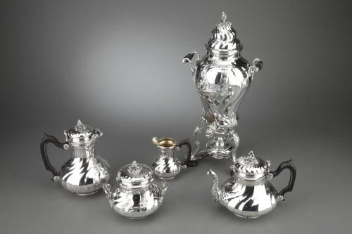 Goldsmith BOIN TABURET - Tea / Coffee service 4 pieces in solid silver plus - Antique Silver Style Napoléon III