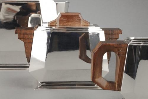 4-piece silver tea service on a twentieth-century metal tray - Art deco - Antique Silver Style Art Déco