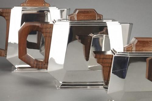 Antique Silver  - 4-piece silver tea service on a twentieth-century metal tray - Art deco