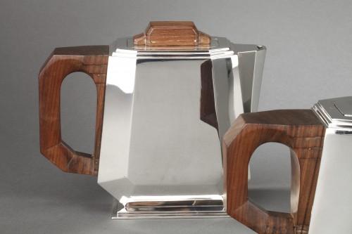 4-piece silver tea service on a twentieth-century metal tray - Art deco -