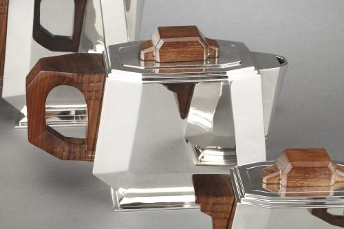 20th century - 4-piece silver tea service on a twentieth-century metal tray - Art deco
