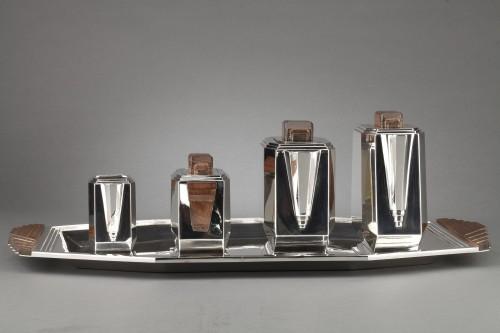 4-piece silver tea service on a twentieth-century metal tray - Art deco - Art Déco