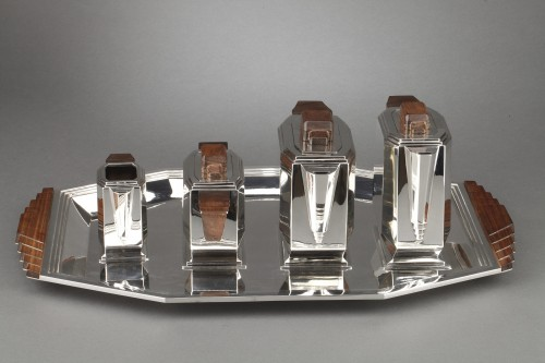 Art Déco - 4-piece silver tea service on a twentieth-century metal tray - Art deco