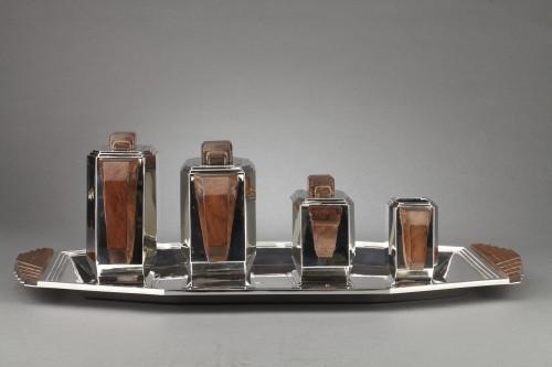 Antiquités - 4-piece silver tea service on a twentieth-century metal tray - Art deco