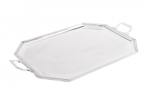 Goldsmith BLOCH ESCHWEGE - Rectangular solid silver tray Art deco