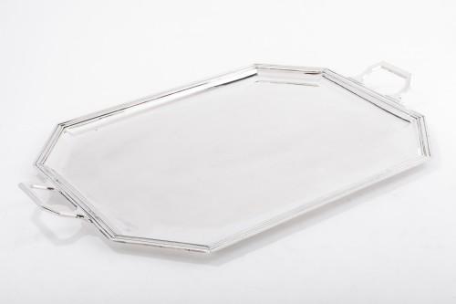 Antique Silver  - Goldsmith BLOCH ESCHWEGE - Rectangular solid silver tray Art deco