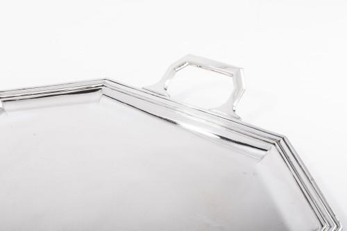 Antiquités - Goldsmith BLOCH ESCHWEGE - Rectangular solid silver tray Art deco