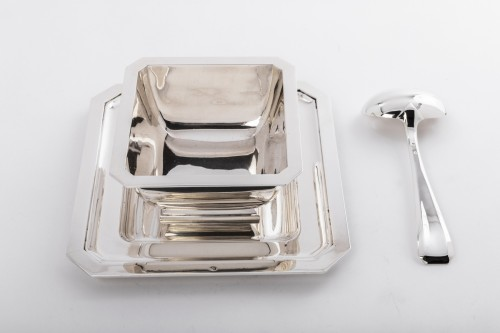 Art Déco - Goldsmith TETARD - Gravy boat and spoon in sterling silver ART DECO