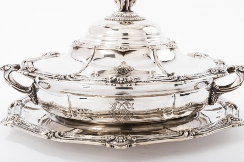 Goldsmith ODIOT - Vegetable dish on its platter in solid silver XIXth - Antique Silver Style Napoléon III
