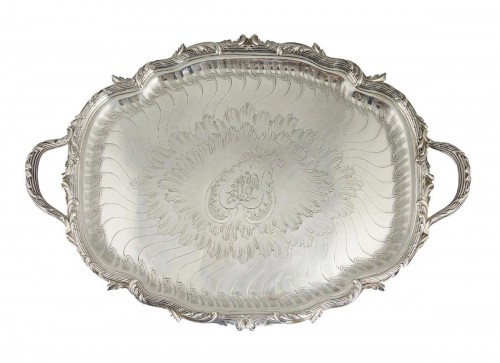 Gustave ODIOT - Large 19th century solid silver tray