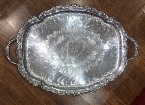 Gustave ODIOT - Large 19th century solid silver tray - Antique Silver Style Napoléon III