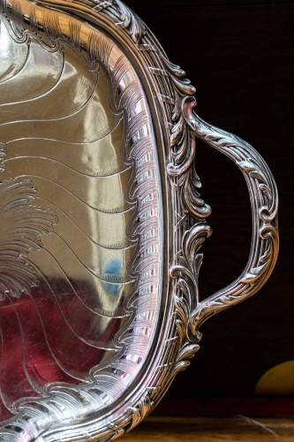 19th century - Gustave ODIOT - Large 19th century solid silver tray
