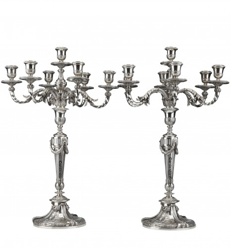 Goldsmith ODIOT - Pair of Large Candelabra in solid silver XIXth