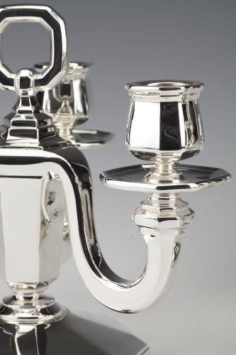 Goldsmith GUSTAVE KELLER -Pair of sterling silver candelabra ART DECO  1930 -