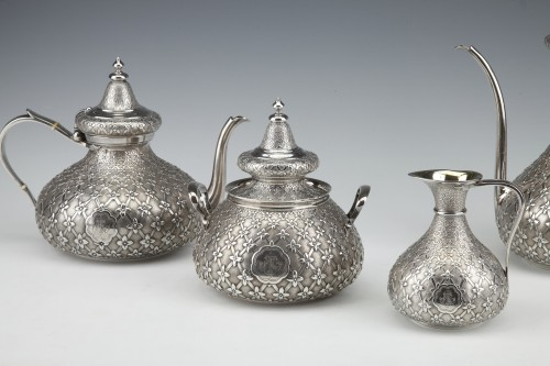 GLANANT  / DUPONCHEL - 4-piece tea and coffee service in solid silver XIXè - Antique Silver Style Napoléon III