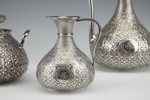 19th century - GLANANT  / DUPONCHEL - 4-piece tea and coffee service in solid silver XIXè