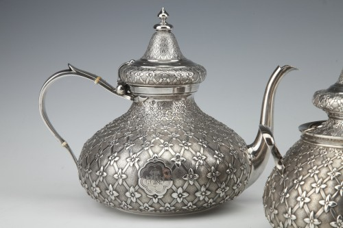 Antiquités - GLANANT  / DUPONCHEL - 4-piece tea and coffee service in solid silver XIXè
