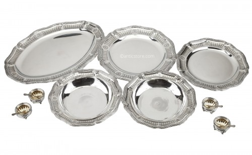 Goldsmith BOIN TABURET - Set of silver dishes and salt cellars Circa XIXth