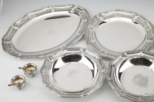 Goldsmith BOIN TABURET - Set of silver dishes and salt cellars Circa XIXth - Antique Silver Style