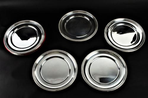 PUIFORCAT - Set of ten solid silver presentation plates - Antique Silver Style Art Déco