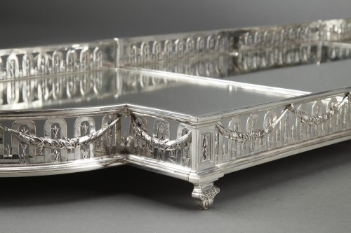 Antique Silver  - Goldsmith QUEILLE - Surtout of table and its planter in solid silver XIXth